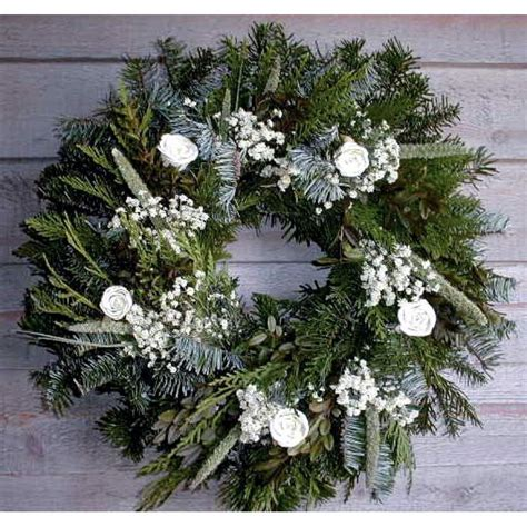 christmas holiday winter wreath fresh white christmas wreath