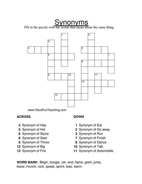 synonym crossword puzzle worksheet teaching