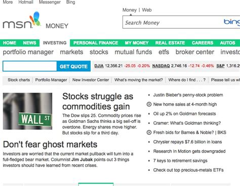 stock quotes watchlist overview msn money