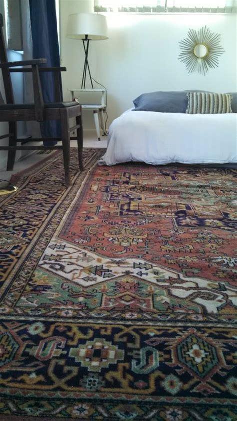 bedroom gold rust navy rug antique modern persian rugs decor mid century master room nightstands accents living minimalist boho brass