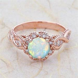 14k vintage rose gold engagement ring center is a by With opal wedding rings rose gold