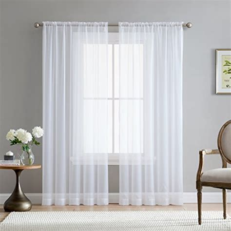 "HLC.ME White 54"" inch x 84"" inch Sheer Curtains Window"