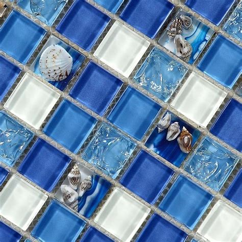 natural sea shell in blue glass mosaic tiles 12x12 wall