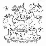 Unicorn Cake Rainbow Sheet Colouring Coloring Pdf sketch template