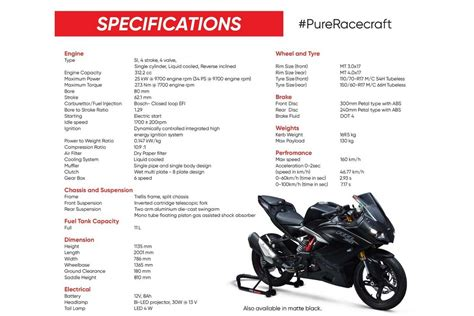tvs apache rr  specifications autobics