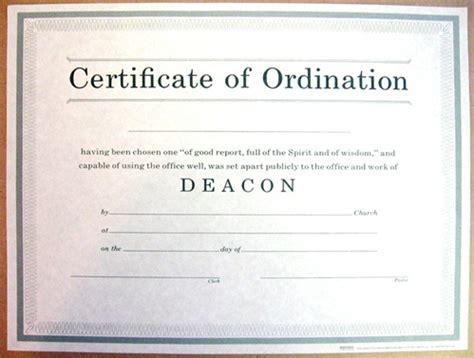 certificate  ordination  deacon