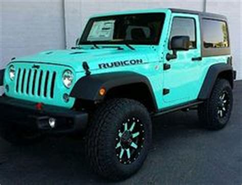 white and teal jeep tiffany blue 2 door jeep rubicon fuel offroad wheels