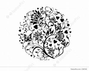 Abstract Patterns: Vector Floral In Circle - Stock ...