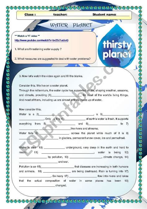 video activity water planet worksheet  images
