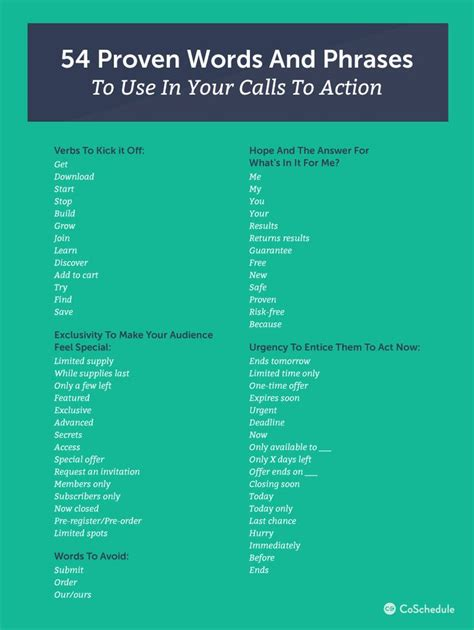 write  call  action   words  examples