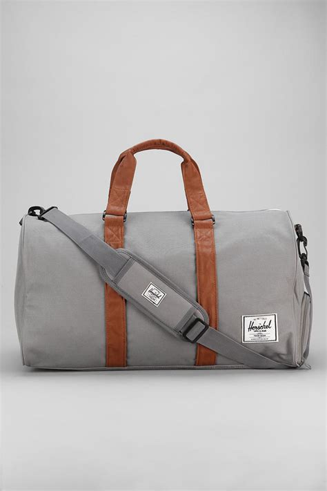leather weekender bag with shoe compartment herschel supply co novel weekender duffle bag in gray for