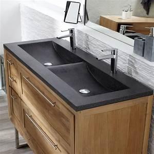 meuble en teck et vasque double en terrazzo chez tikamoon With meuble salle de bain double vasque en teck