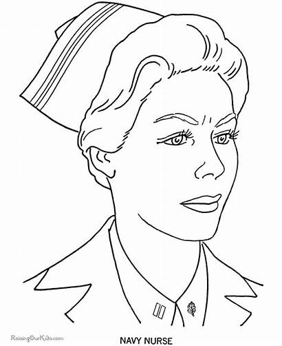 Coloring Nurse Pages Military Forces Armed Memorial