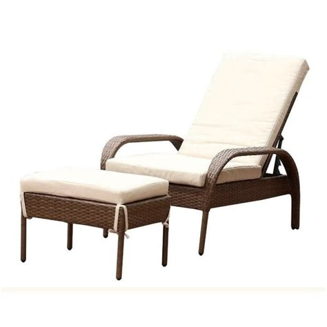abbyson living palermo outdoor wicker chaise with cushion