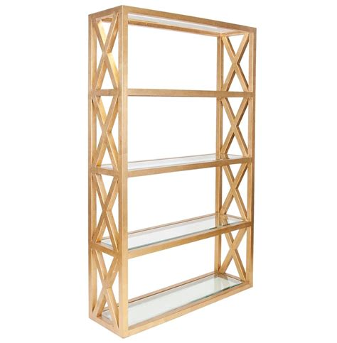 Gold Etagere by Montgomery Regency Gold Leaf Glass Etagere