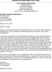 Cover Letter For Front Desk Attendant by Sle Cover Letter For Front Desk Receptionist 1418