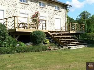 terrasse bois en hauteur escalier bois panazol haute With terrasse en bois en hauteur