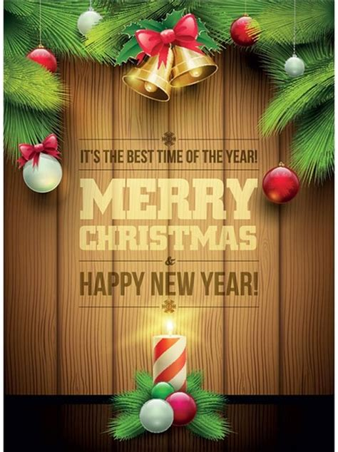 Free vector merry christmas wooden background invitation