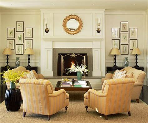 Living Room Picture Arrangement by Furniture Around Fireplace On