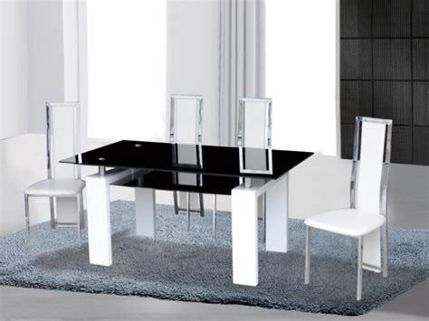 black white high gloss glass dining table 4 chairs