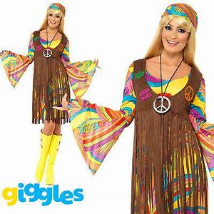 Hippy Costume 60s 1970s Flower Power Hippie Womens Ladies ...
