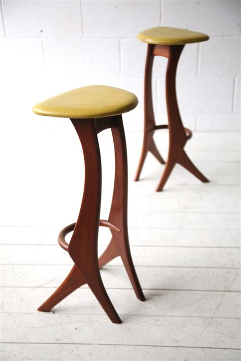 1950s Bar Stools Vintage 1950s Solid Teak Bar Stools By Reyway And