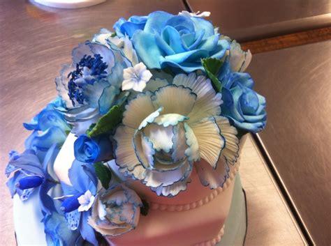 blue wedding cake  gumpaste flowers cakecentralcom