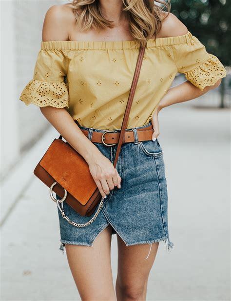 Eyelet Top u0026 Denim Mini - LivvyLand | Austin Fashion and Style Blogger