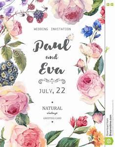 vintage floral vector roses wedding invitation stock With vintage flowers wedding invitations vector