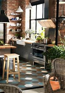 Jolie Cuisine Bois Inox Et Briques Magnifique