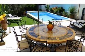 Table De Jardin Fer : exceptionnel table de jardin mosaique fer forge 14 table de jardin ronde 125 160 mosa239que ~ Nature-et-papiers.com Idées de Décoration