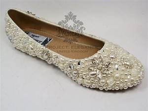 Womens Ladies Pearl Crystal Ballerina Flat Shoes Sizes 3 8