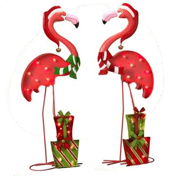 battery operated lighted metal flamingo christmas yard
