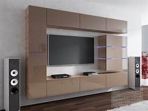 Tv Wand Modern : kaufexpert wohnwand shine cappuccino hochglanz sonoma eiche 284 cm mediawand medienwand design ~ Indierocktalk.com Haus und Dekorationen
