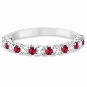 Ruby Diamond Wedding Band Anniversary Ring 14k White