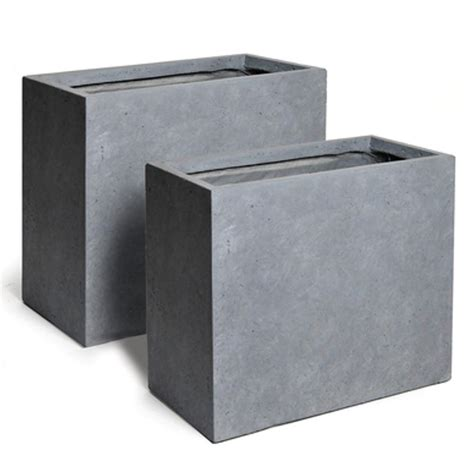 bac 224 fleur rectangulaire en fibre de terre gris ciment