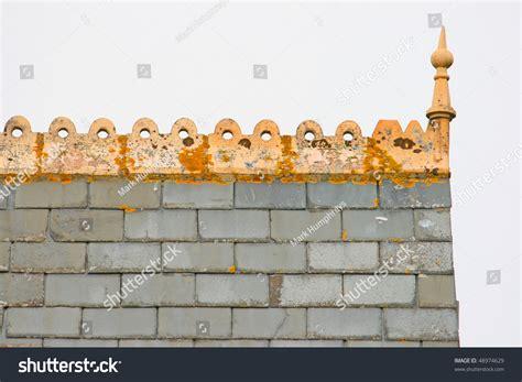 decorative roof ridge tiles stock photo
