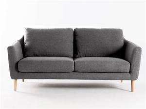 Canape fixe tissu pieds bois style scandinave hej gris for Canapé convertible scandinave pour noël decoration magasin