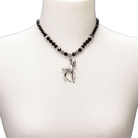 PerlenHalskette BambiRehkitz (schwarz) Trachtenschmuck