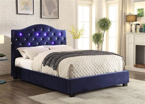 beds with lights in headboard cressida contemporary style navy blue flannelette