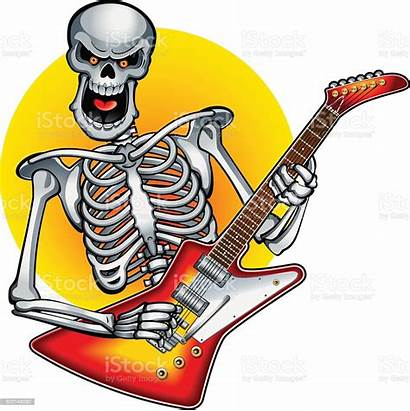 Skeleton Guitar Playing Rock Electric Clipart Bass
