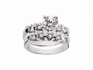 Genuine 160ct round cut diamond engagement ring wedding for Where to sell wedding ring set