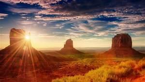 American, Sunset, Sun, Rays, Desert, Area, Oljato, Monument
