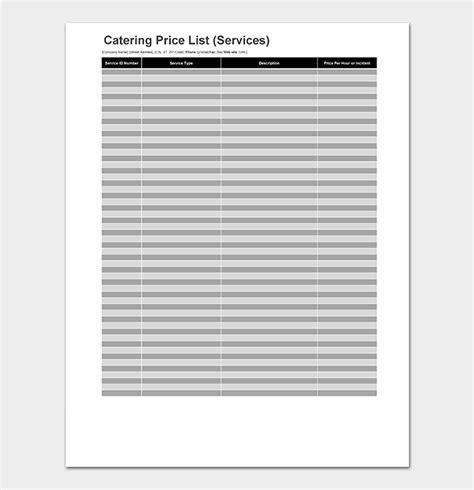 catering price list template  menus price lists