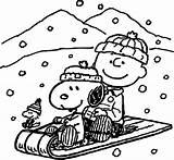 Coloring Peanuts Snoopy Winter Printable Getcolorings sketch template