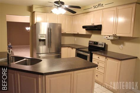 soffit kitchen above cabinets diy how to disguise a kitchen soffit pink 5586