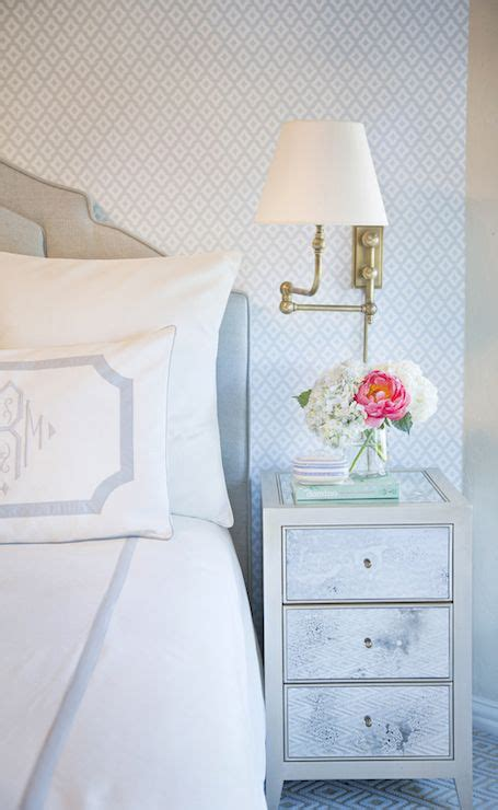 bedroom nightstand lights antiqued mirrored nightstand transitional bedroom 10584   650fecb441c0926796a8eb353ed4a3cf