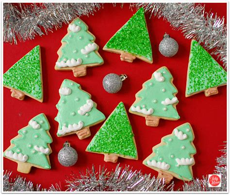 christmas tree cut out cookies with royal icing at