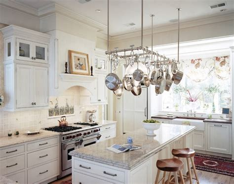 kitchen island with pot rack creative ways to use hanging storage in your kitchen