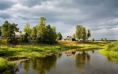 Village River Stream Summer Trees Water Sky